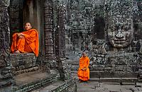 Monks at Bayon, Angkor Wat, Cambodia 2006