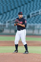 AZL Indians 1 relief pitcher Aaron Pinto (52) gets ready to deliver a pitch during an Arizona League playoff game against the AZL Rangers at Goodyear Ballpark on August 28, 2018 in Goodyear, Arizona. The AZL Rangers defeated the AZL Indians 1 7-4. (Zachary Lucy/Four Seam Images)