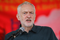 Pictured: Labour leader Jeremy Corbyn. Sunday 01 July 2018<br /> Re: Labour Party leader Jeremy Corbyn at the celebration for the 70 years since the National Health Service (NHS) was founded by Aneurin Bevan, Bedwellty Park, Tredegar, Wales, UK.