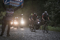 race leaders Oliver Naesen (BEL/IAM) & Edvald Boasson Hagen (NOR/Dimension Data) charging up the Bosberg cobbles<br /> <br /> 12th Eneco Tour 2016 (UCI World Tour)<br /> Stage 7: Bornem › Geraardsbergen (198km)