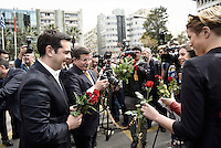 Pictured L-R: Alexis Tsipras and his Turkish counterpart Ahmet Davutoglou are given flowers while Davutoglu seems to be fiddling with a digital camera Tuesday 08 March 2016<br /> Re: The Prime Ministers of Turkey Ahmet Davutoglu and Greece Alexis Tsipras have met in Smyrna, Turkey to discuss ways to enhance their cooperation as both countries are grappling with an influx of migrants,