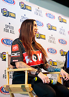 Feb 6, 2020; Pomona, CA, USA; NHRA funny car driver Alexis DeJoria during the NHRA Winternationals media press conference at the NHRA Museum. Mandatory Credit: Mark J. Rebilas-USA TODAY Sports