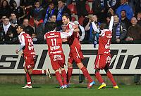 KV Kortrijk - KRC Genk : vreugde bij Kortrijk nadat Dalibor Veselinovic de 1-0 scoorde.foto VDB / BART VANDENBROUCKE