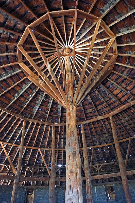 Round Barn roof interior. Near Diamond, Oregon