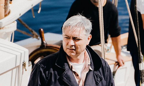 "Skipper Gary Mac Mahon looking thoughtful – ""You'd look thoughtful if you'd seven thousand euros-worth of whiskey swinging around aloft…"" Photo: Ian Riordan"
