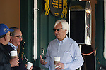 May 17, 2013. Shug McGaughey (2nd from left), trainer of Kentucky Derby winner and Preakness contender Orb, talks with Bob Baffert (right), trainer of Preakness contender Govenor Charlie inside the Stakes barn at Pimlico Race Course in Baltimore, MD. (Joan Fairman Kanes/Elipse Sportswire)