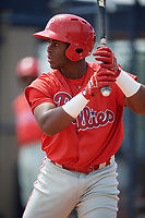 GCL Phillies East Wilfredo Flores (2) bats during a Gulf Coast League game against the GCL Yankees East on July 31, 2019 at Yankees Minor League Complex in Tampa, Florida.  GCL Yankees East defeated the GCL Phillies East 11-0 in the first game of a doubleheader.  (Mike Janes/Four Seam Images)