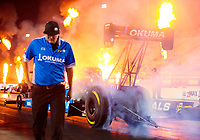 Oct 11, 2019; Concord, NC, USA; Crew member Cody Wilkinson for NHRA top fuel driver Leah Pritchett during qualifying for the Carolina Nationals at zMax Dragway. Mandatory Credit: Mark J. Rebilas-USA TODAY Sports