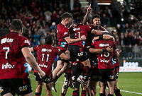 he Crusaders celebrate winning the 2021 Super Rugby Aotearoa final between the Crusaders and Chiefs at Orangetheory Stadium in Christchurch, New Zealand on Saturday, 8 May 2021. Photo: Joe Johnson / lintottphoto.co.nz