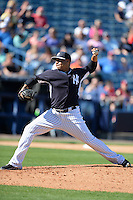 Pitcher Cesar Cabral (64) of the New York Yankees during a spring training game against the Philadelphia Phillies on March 1, 2014 at Steinbrenner Field in Tampa, Florida.  New York defeated Philadelphia 4-0.  (Mike Janes/Four Seam Images)