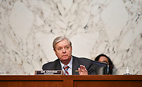 United States Senator Lindsey Graham (Republican of South  Carolina), Chairman, US Senate Judiciary Committee takes part in a US Senate Judiciary Committee business meeting in the Hart Senate Office Building on Capitol Hill in Washington, DC on October 15, 2020.<br /> Credit: Mandel Ngan / Pool via CNP /MediaPunch