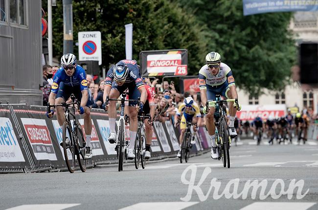 Álvaro José Hodeg (COL/Deceuninck - Quick Step) wins the Grote Prijs Marcel Kint 2021 (BEL) in a sprint against Tim Merlier (BEL/Alpecin-Fenix) & Boy van Poppel (NED/Intermarché - Wanty - Gobert)<br /> <br /> One day race from Zwevegem to Kortrijk (196km)<br /> <br /> ©kramon