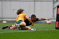 Aaron Smith of the New Zealand All Blacks scores a try during the Bledisloe Cup - New Zealand v Australia at Sky Stadium, Wellington, New Zealand on Sunday 11 October 2020. <br /> Photo by Masanori Udagawa. <br /> www.photowellington.photoshelter.com
