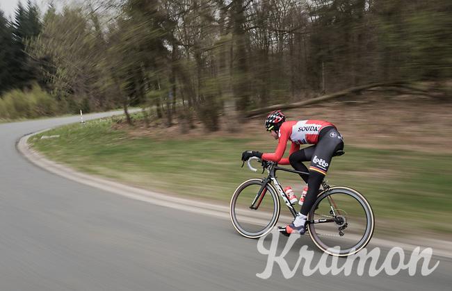 Tim Wellens (BEL/Lotto Soudal) speeding along<br /> <br /> Team Lotto-Soudal at the Liège-Bastogne-Liège 2017 recon