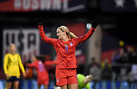 COLUMBUS, OH - NOVEMBER 07: Lindsey Horan #9 of the United States celebrates a US goal during a game between Sweden and USWNT at MAPFRE Stadium on November 07, 2019 in Columbus, Ohio.