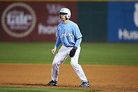 Cody Roberts (11) of the North Carolina Tar Heels takes his lead off of first base against the Charlotte 49ers at BB&T BallPark on March 27, 2018 in Charlotte, North Carolina. The Tar Heels defeated the 49ers 14-2. (Brian Westerholt/Four Seam Images)