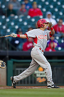 Houston Cougars second baseman Josh Vidales #8 follows through on his swing against the Baylor Bears in the NCAA baseball game on March 2, 2013 at Minute Maid Park in Houston, Texas. Houston defeated Baylor 15-4. (Andrew Woolley/Four Seam Images).