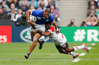 Samoa Outside Centre Paul Perez is tackled by Japan Winger Kotaro Matsushima - Mandatory byline: Rogan Thomson - 03/10/2015 - RUGBY UNION - Stadium:mk - Milton Keynes, England - Samoa v Japan - Rugby World Cup 2015 Pool B.