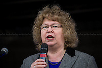 """Jean Lambert MEP (British Green Party Member of the European Parliament for London; she is Vice-President of the Greens/European Free Alliance Group of MEPs, in which she is the Spokesperson on Asylum and Refugees).<br /> <br /> London, 22/03/2014. """"Stand Up To Racism & fascism - No to Scapegoating Immigrants, No to Islamophobia, Yes to Diversity"""", national demo marking UN Anti-Racism Day organised by TUC (Trade Union Congress) and UAF (Unite Against Fascism).<br /> <br /> For more information please click here: http://www.standuptoracism.org.uk/"""