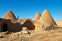 "Pictures of the beehive adobe buildings of Harran, south west Anatolia, Turkey.  Harran was a major ancient city in Upper Mesopotamia whose site is near the modern village of Altınbaşak, Turkey, 24 miles (44 kilometers) southeast of Şanlıurfa. The location is in a district of Şanlıurfa Province that is also named ""Harran"". Harran is famous for its traditional 'beehive' adobe houses, constructed entirely without wood. The design of these makes them cool inside. 27"