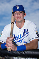 Logan Gray (9) of the Burlington Royals poses for a photo prior to the game against the Bluefield Blue Jays at Burlington Athletic Stadium on June 28, 2016 in Burlington, North Carolina.  The Royals defeated the Blue Jays 4-0.  (Brian Westerholt/Four Seam Images)