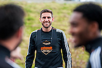 Tuesday 19 April 2016<br /> Pictured: Angel Rangel of Swansea City during training.<br /> Re: Swansea City Training Session ahead of the away game against Leicester City FC