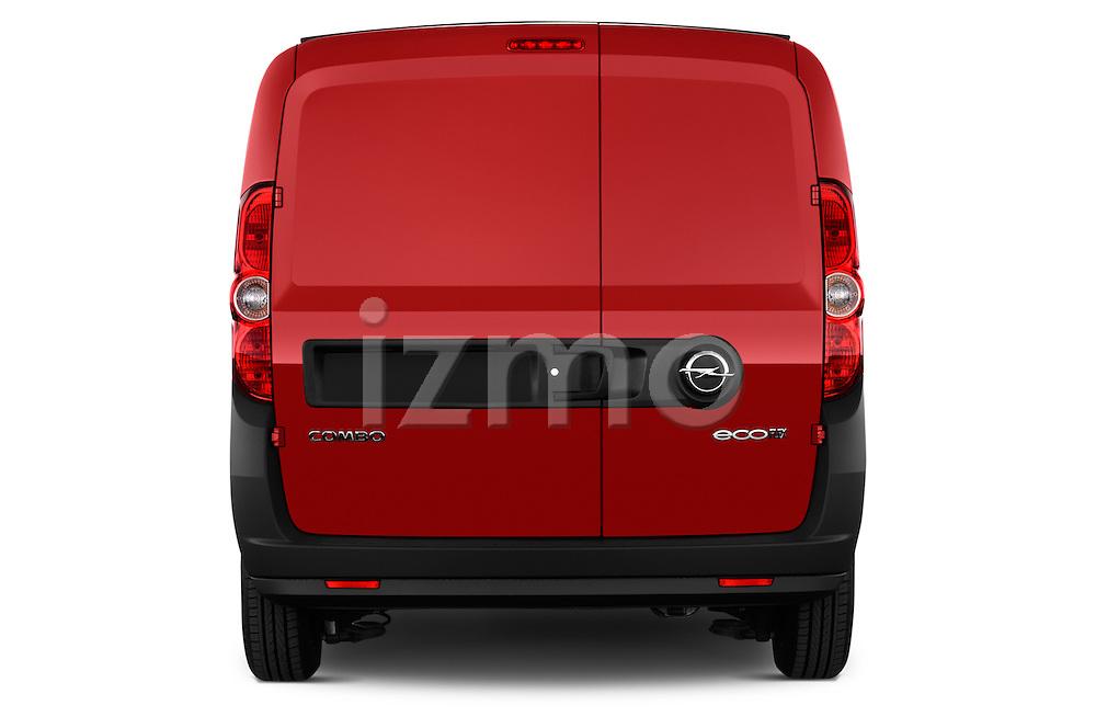 Straight rear view of a 2015 Opel COMBO LiHI 4 Door Cargo Van 2WD Rear View  stock images