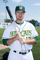 Eric Haase (13) of the Lynchburg Hillcats poses for a photo prior to the game against the Frederick Keys at Calvin Falwell Field at Lynchburg City Stadium on May 14, 2015 in Lynchburg, Virginia.  The Hillcats defeated the Keys 6-3.  (Brian Westerholt/Four Seam Images)