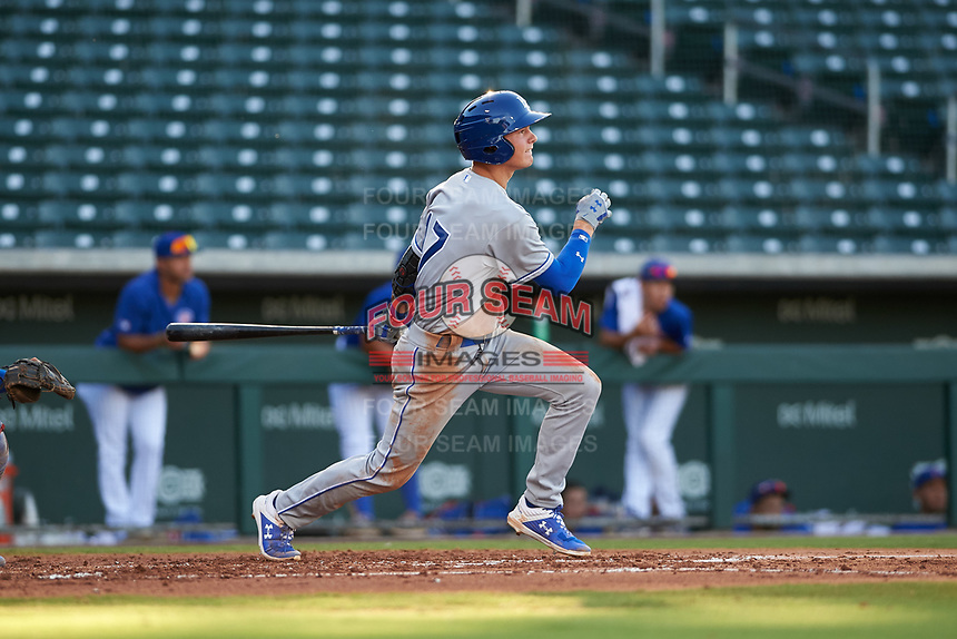 AZL Royals Bobby Witt, Jr. (17) hits a single in the top of the second inning for his first professional hit during his professional debut in an Arizona League game against the AZL Cubs 1 on June 30, 2019 at Sloan Park in Mesa, Arizona. AZL Royals defeated the AZL Cubs 1 9-5. (Zachary Lucy / Four Seam Images)