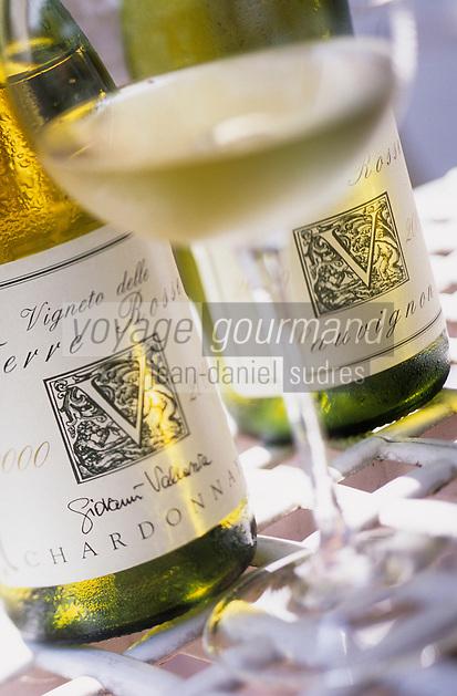 """Europe/Italie/Emilie-Romagne/Zola Predosa : Domaine viticole de """"Terre Rosse"""" - Bouteilles de Chardonnay et Sauvignon"""