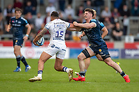 28th May 2021; AJ Bell Stadium, Salford, Lancashire, England; English Premiership Rugby, Sale Sharks versus Bristol Bears; Charles Piutau of Bristol Bears is tackled by Ben Curry of Sale Sharks