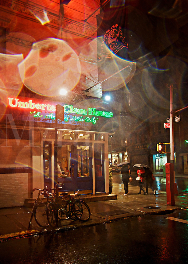 Italian restaurant at night, Mulberry Street, Little Italy, SoHo, NYC, USA