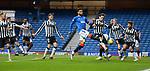 06.03.2021 Rangers v St Mirren: Connor Goldson attacks the ball from Borna Barisic's corner