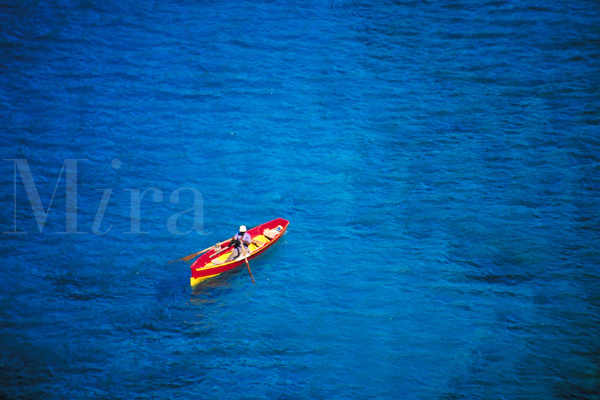 Fisherman near Scots Head Village, island of Dominica, West Indies. Scots Head, Dominica West Indies.