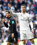 Real Madrid's Cristiano Ronaldo (r) and Granada CF's Javi Marquez during La Liga match. January 7,2016. (ALTERPHOTOS/Acero)