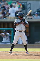 Hickory Crawdads infielder Yonny Hernandez (2) at bat during a game against the Charleston Riverdogs at the Joseph P. Riley Ballpark in Charleston, South Carolina.  Hickory defeated Charleston 8-7. (Robert Gurganus/Four Seam Images)