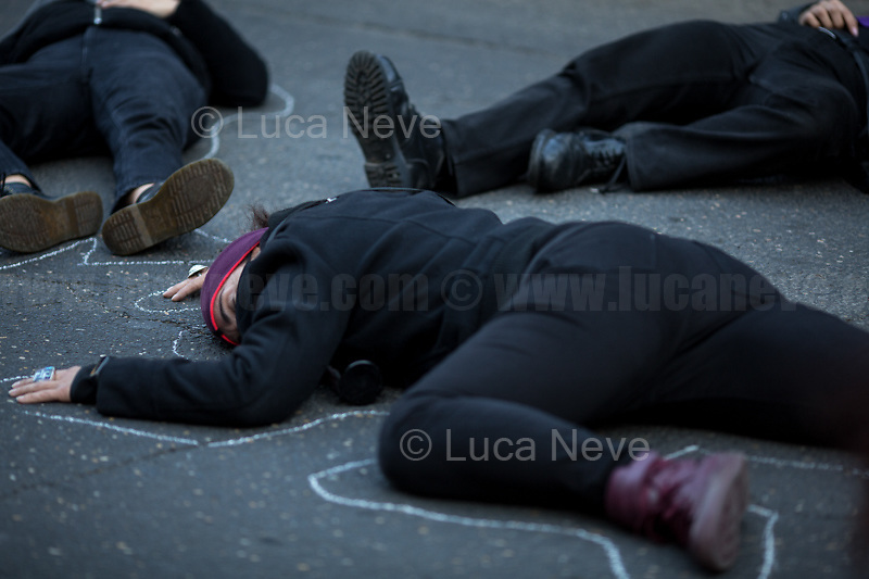Rome, Italy. 25th March, 2021. Today, Non Una Di Meno held a Demonstration and a die-in in Rome (1.) in support and solidarity with all the women living in Turkey and against the decision of the Turkish President, Recep Tayyip Erdogan, to pull his Country out of the Council of Europe Convention on Preventing and Combating Violence Against Women and Domestic Violence, also known as the Istanbul Convention (2.).<br />