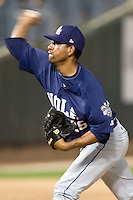 New Orleans Zephyrs pitcher Cesar Valdez #26 delivers a pitch during a game against the Round Rock Express at the Dell Diamond on July 20, 2011 in Round Rock, Texas.  New Orleans defeated Round Rock 14-11.  (Andrew Woolley/Four Seam Images)