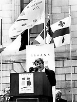 Montreal (Qc) CANADA - May 17 1992 File Photo - Jean Dore, Mayor of Montreal speak at the 350th anniversary of Montreal
