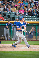 Corey Seager (18) of the Oklahoma City Dodgers crushes his second home run of the night to deep right-center field against the Salt Lake Bees in Pacific Coast League action at Smith's Ballpark on May 25, 2015 in Salt Lake City, Utah.  Seager was the first-round pick (18th overall) in the 2012 Draft for the Los Angeles Dodgers.  (Stephen Smith/Four Seam Images)