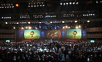 The World Cup mascot Zakumi is displayed on the screens during the FIFA Final Draw for the FIFA World Cup 2010 South Africa held at the Cape Town International Convention Centre (CTICC) on December 4, 2009.