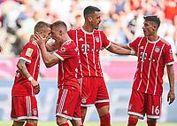 Niklas DORSCH, FCB 30 celebration 1-0 and Sandro WAGNER, FCB 2 Passgeber, Joshua KIMMICH, FCB 32 Meritan SHABANI, FCB 16   <br /> FC BAYERN MUENCHEN - EINTRACHT FRANKFURT 4-1<br /> Football 1. Bundesliga , Muenchen,28.04.2018, 32. match day,  2017/2018, , FRA<br />  *** Local Caption *** © pixathlon<br /> Contact: +49-40-22 63 02 60 , info@pixathlon.de