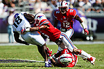 Southern Methodist Mustangs safety Elijah McQueen (6) and TCU Horned Frogs wide receiver Jalen Reagor (18) in action during the game between the SMU Mustangs and the TCU Horned Frogs at the Amon G. Carter Stadium in Fort Worth, Texas.
