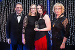 © Joel Goodman - 07973 332324 . 05/03/2015 .  Midland Hotel , Manchester , UK . L-R Eamonn O'Neill , sponsor (MMU) , winner Rachel Stevens of Weightmans LLP and Louise Straw . Chartered Legal Executive of the Year . The Manchester Legal Awards 2015 . Photo credit : Joel Goodman