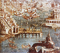 Napoli: Puteoli (Pozzuoli--west of Naples) Foreground, arcaded mole; ships at anchor. National Museum. Ref. only.