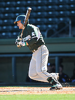 Left fielder Jordan Keur (6) of the Michigan State Spartans hits in a game against the Northwestern Wildcats on Sunday, February 17, 2013, at Fluor Field at the West End in Greenville, South Carolina. Michigan State won, 7-4. (Tom Priddy/Four Seam Images)