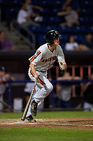 Aberdeen Ironbirds Mason Janvrin (17) bats during a NY-Penn League game against the Staten Island Yankees on August 22, 2019 at Richmond County Bank Ballpark in Staten Island, New York.  Aberdeen defeated Staten Island 4-1 in a rain shortened game.  (Mike Janes/Four Seam Images)