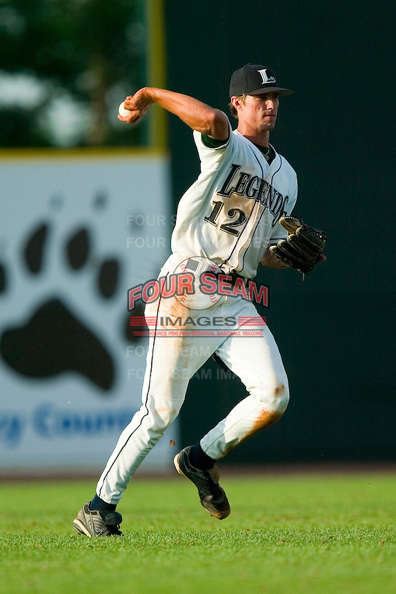 Lexington center fielder Nicholas Moresi (12) throws the ball back to the infield versus West Virginia at Applebee's Park in Lexington, KY, Thursday, June 7, 2007.