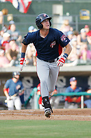 Potomac Nationals infielder Ian Sagdal (1) at bat during a game against the Myrtle Beach Pelicans at Ticketreturn.com Field at Pelicans Ballpark on July 1, 2018 in Myrtle Beach, South Carolina. Myrtle Beach defeated Potomac 6-1. (Robert Gurganus/Four Seam Images)