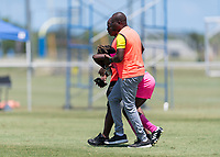 Bradenton, FL - Sunday, June 12, 2018: Haiti staff, Madelina Fleuriot prior to a U-17 Women's Championship 3rd place match between Canada and Haiti at IMG Academy. Canada defeated Haiti 2-1.